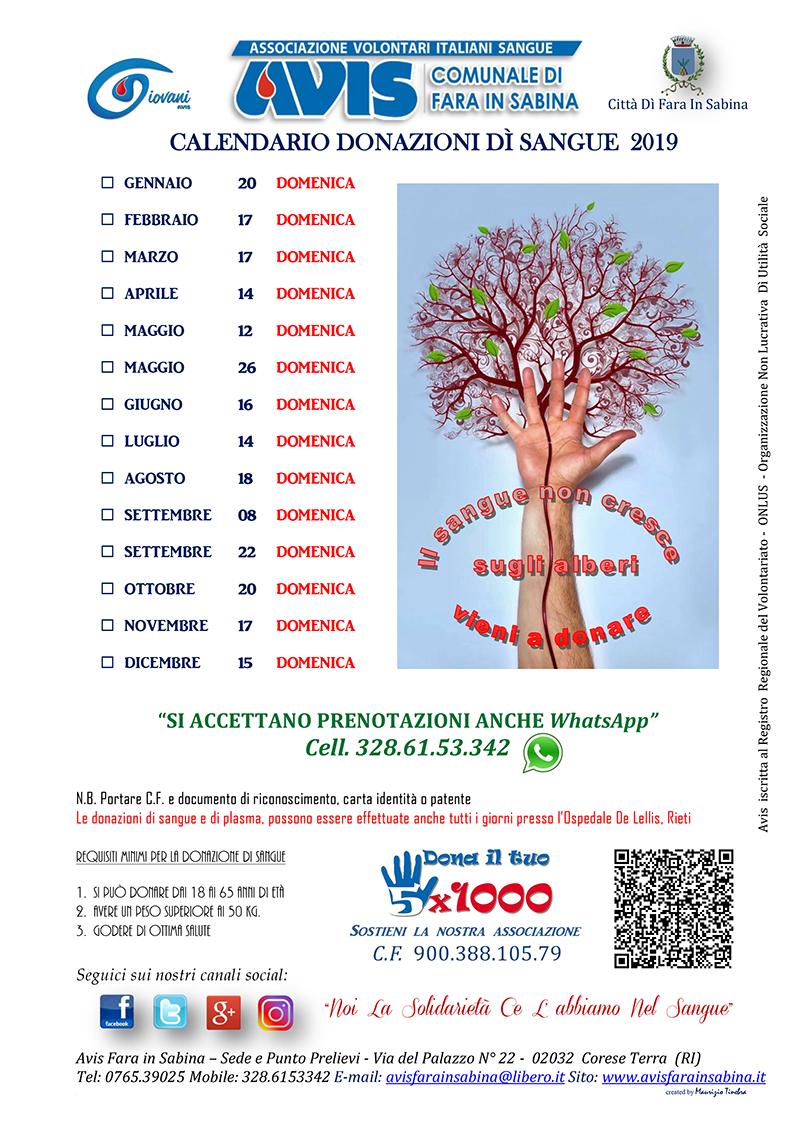 Calendario Avis.Calendario Donazione Sangue 2019 Avis Fara In Sabina Avis